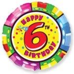 Цифра 6 на кругу фольгированный шар