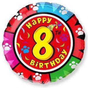 Цифра 8 на кругу фольгированный шар