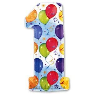 Фольгированная цифра 1 воздушные шары