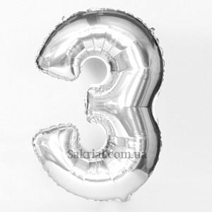 Фольгированный шар-цифра 3 (три) серебро