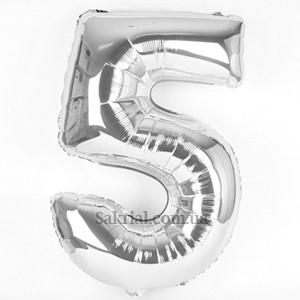 Шарик цифра 5 серебро