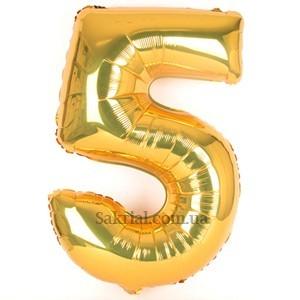 Золотая цифра 5 на День рождения