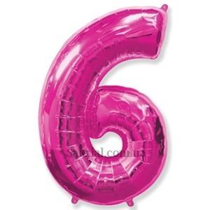 Цифра 6 воздушный шар фуксия