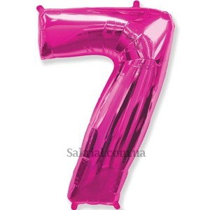 Фольгированная цифра 7 малиновая