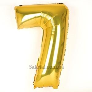 Золотая цифра 7 фольгированный шар