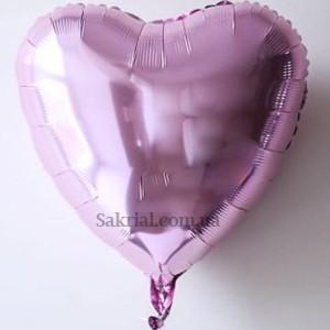 Фольгированное сердце шар Розовый металлик