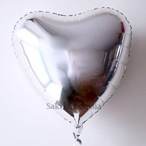 Сердце (серебро) Красивый гелиевый шар