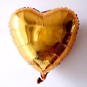 Фольгированный шар золотое сердце надутое гелием