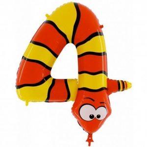 Воздушный шар цифра 4 в виде змейки