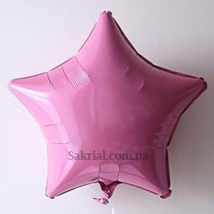 Фольгированная розовая звезда пастель