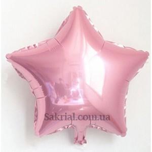 Фольгированный шар звезда Розовый металлик