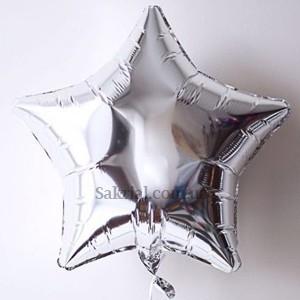Фольгированный шар Серебряная звезда серебро