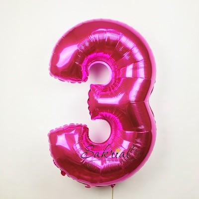 Фольгированная цифра «3» фуксия
