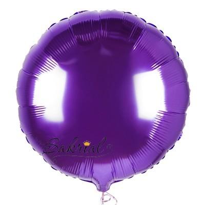 Фольгированный шар фиолетовый круг надутый гелием