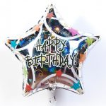 Фольгированный шар с днем рождения звезда галографическая