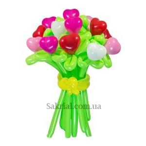 Купить Букет Цветов с Сердцами из Шаров
