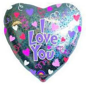 Купить Сердце Шар I Love You Блестящее