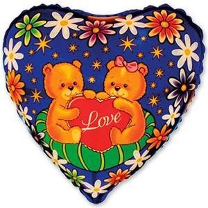Купить Сердце Шар с Медвежатами