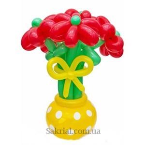 Букет Оригинальных Цветов из Шаров в Горшочке