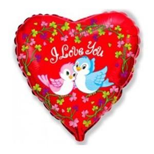 Купить Сердце Шар I Love You Птички