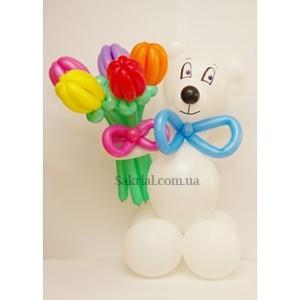 Купить белого мишку из воздушных шаров