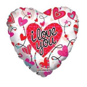 Купить Сердце Шар I Love You Завитушки