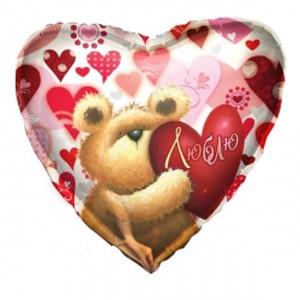 Купить Сердце Шар I Love You Медвежонок с Сердечком