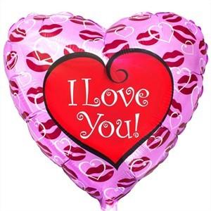 Купить Сердце Шар I Love You Kiss