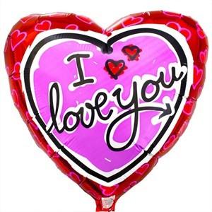 Купить Сердце Шар I Love You Красное