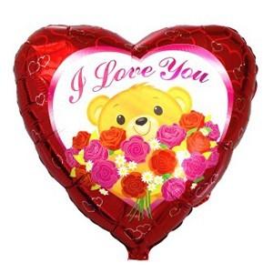 Купить Сердце Шар I Love You Мишка с Розами