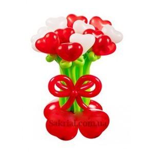 Купить Букет Цветов с Сердечками из Шаров