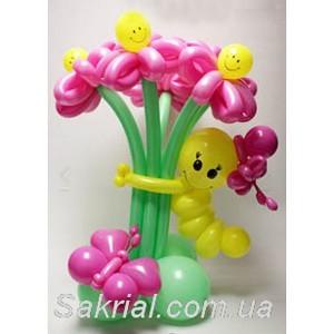 Купить Букет Цветов с Гусеничкой из Шаров