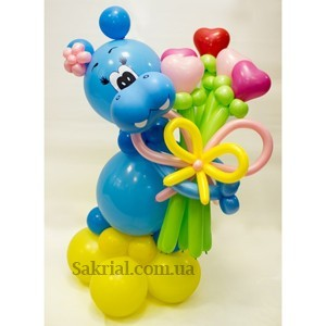 Купить синего бегемотика из воздушных шаров