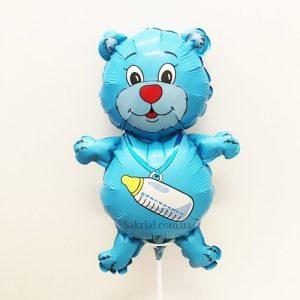 Купить Фольгированный Шарик на Палочке (Медвежонок Голубой)