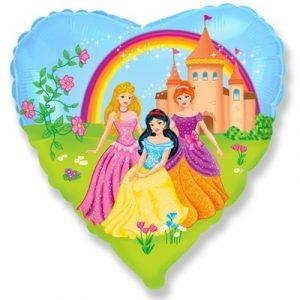 Купить Шар Сердце с Рисунком Принцесс