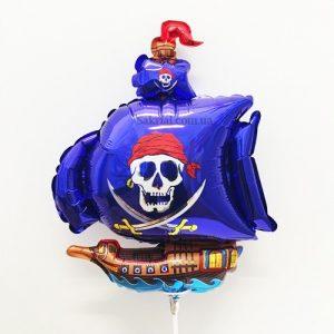 Фольгированный Шарик на Палочке (Пиратский Корабль Синий)