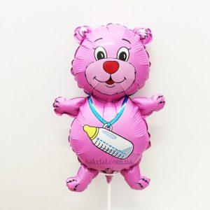 Купить Фольгированный Шарик на Палочке (Медвежонок Розовый)