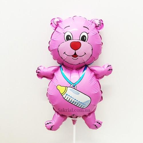 Мишка розового цвета для девочки на палочке