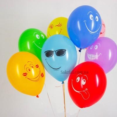 Шары с гелием улыбки разноцветные смайлики