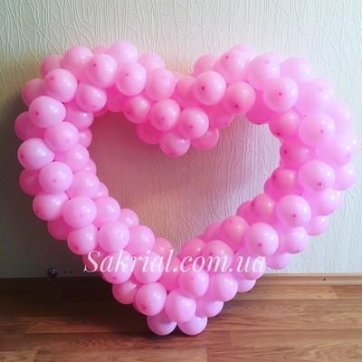 Купить розовое сердце из шариков