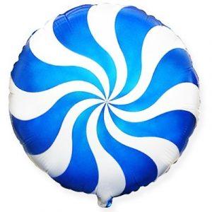 Фольгированный круг леденец синий