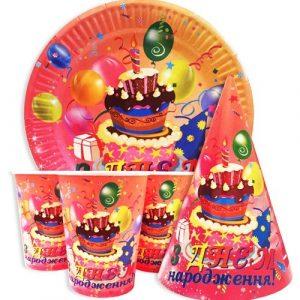 Купить Детскую Одноразовую Посуду (З днем народження д/дівч)