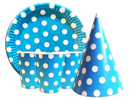Купить Одноразовую Посуду (Голубой горошек)