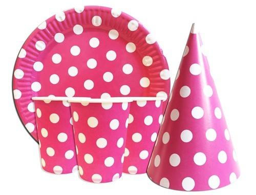 Набор одноразовой посуды розовый горошек