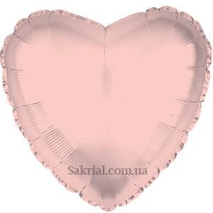 Красивый фольгированный шар сердце розовое золото