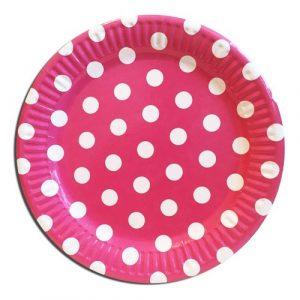 Купить Бумажные Тарелки (Розовый горошек)