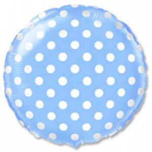 Круглый голубой шар в белый горошек