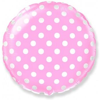 Фольгированный розовый шар с белым горошком
