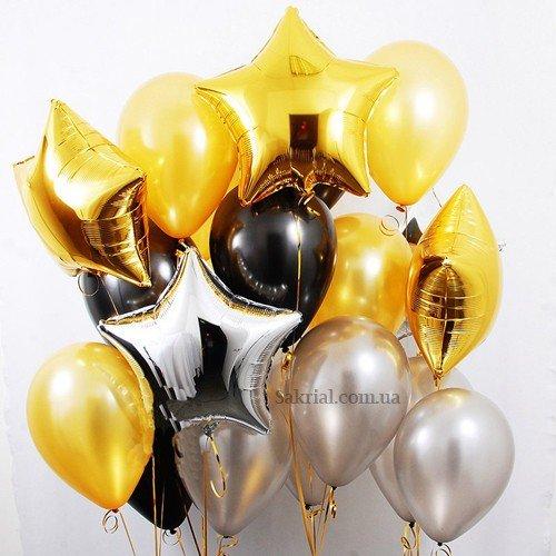 Набор латексных шаров с гелием в цветах золото и серебро