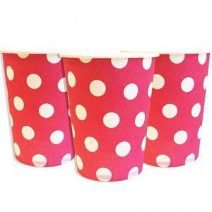 Купить Бумажные Стаканчики (Розовый горошек)